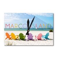 Marco Island, FL Colorful Beach Chairs LP Artwork (Acrylic Wall Clock) - acrylic wall clock