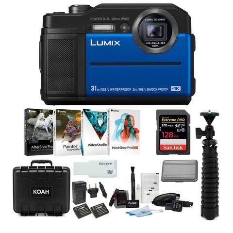 Panasonic LUMIX TS7 Waterproof Tough Digital Camera (Blue) Bundle