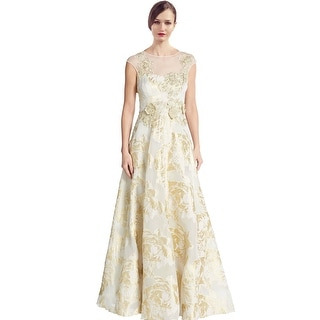 Teri Jon Lace Cap Sleeve Applique Evening Gown Dress - 8