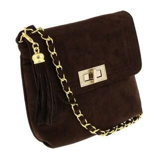 Scheilan Brown Suede Tassle Clutch/Shoulder Bag