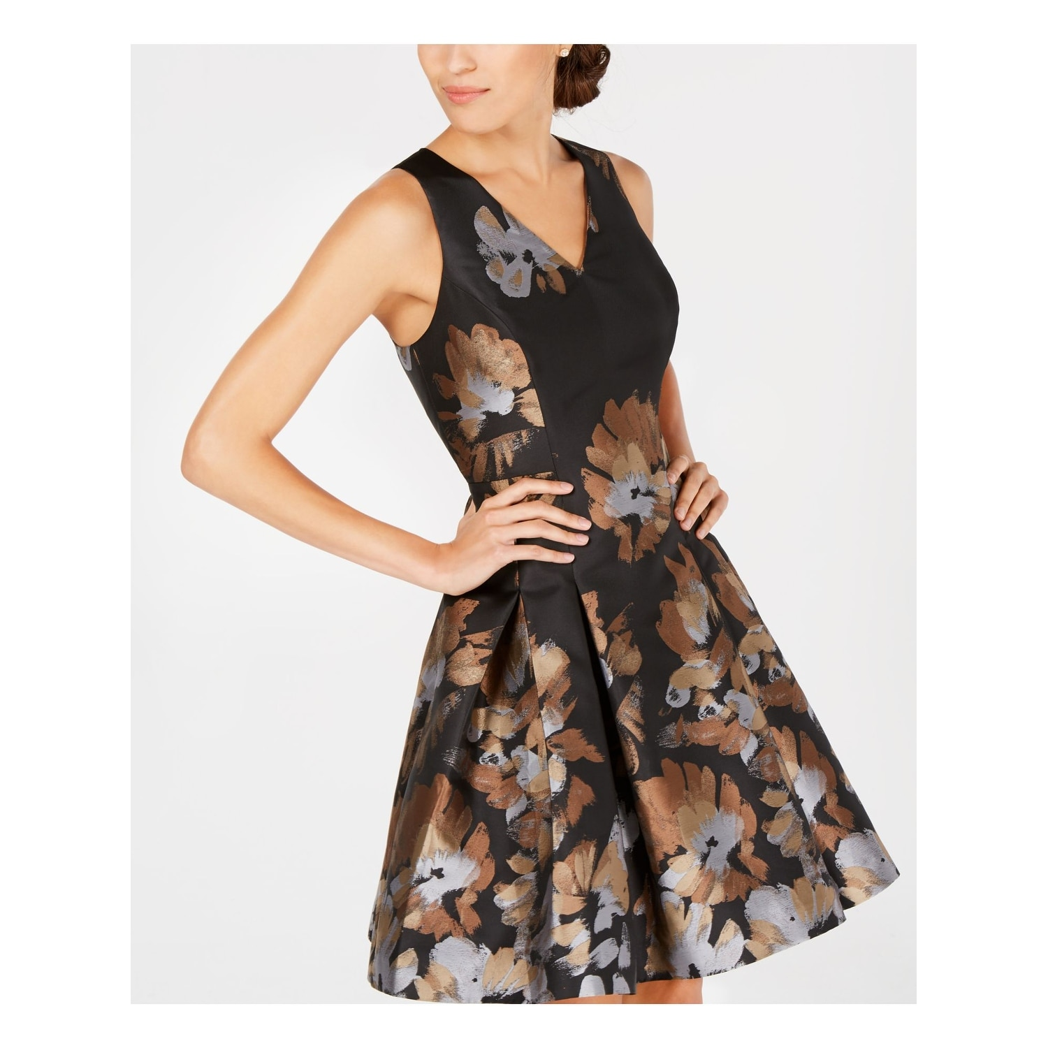 Tommy Hilfiger Womens Sleeveless Floral Print Party Dress
