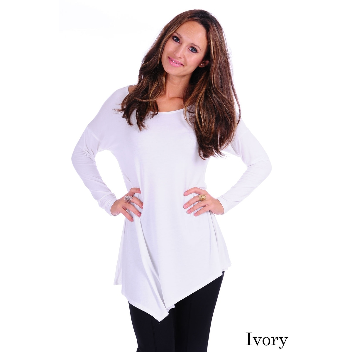 Simply Ravishing Women's Assymetrical Front/Back Handkerchief Hem Long Sleeve Tunic Top - Thumbnail 5