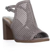 AR35 Despina Perforated Block Heel Sandals, Grey