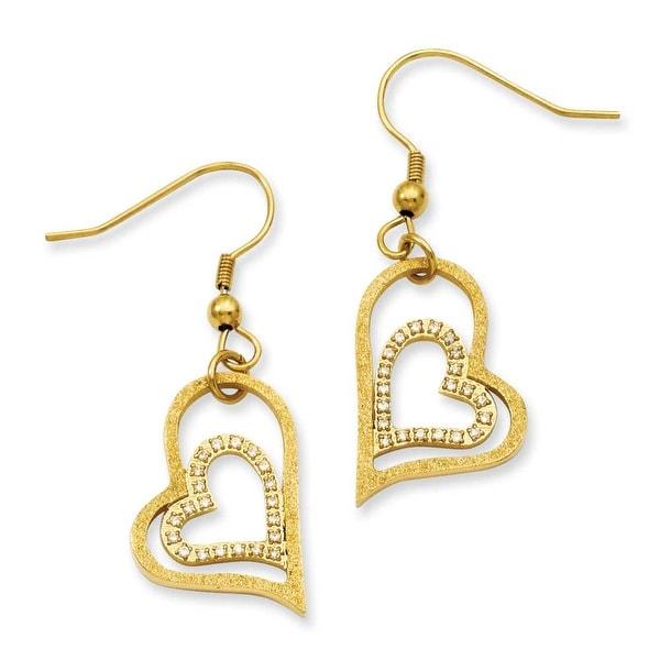 Stainless Steel Gold-plated Diamond Cut Heart Dangle Earrings