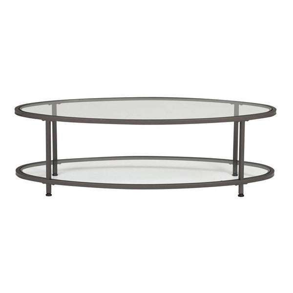 """Offex Camber 48"""" Clear Glass Oval Coffee Table - Pewter"""