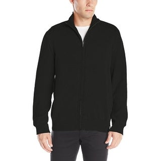 Calvin Klein Jeans Full Zip Mock Neck Sweater Black Solid Small S