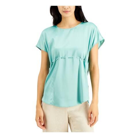 ALFANI Womens Green Cap Sleeve Jewel Neck Blouse Top Size XL