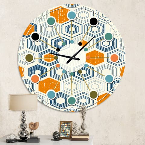 Designart 'Retro Hexagon Pattern IX' Mid-Century wall clock