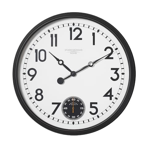 """Offex Home Terrace Large 32"""" Wall Clock with Subdial for Seconds in Black/White Face"""