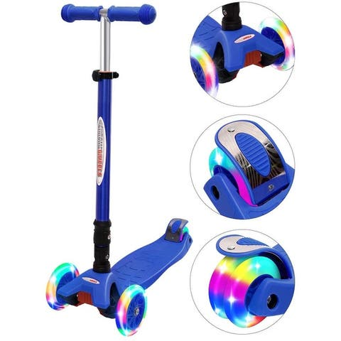 Buy Wonder Products Mega 3-Wheel Foldable Scooter With Lightup Wheels & Extendable T-Bar For 3-12 Years ears Blue