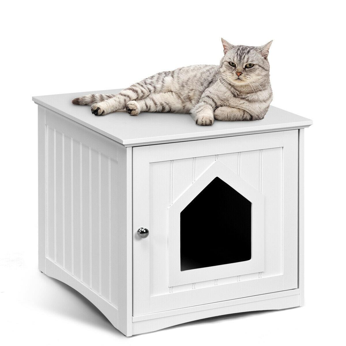 Gymax Weatherproof Multi Function Pet Cat House Outdoor Indoor