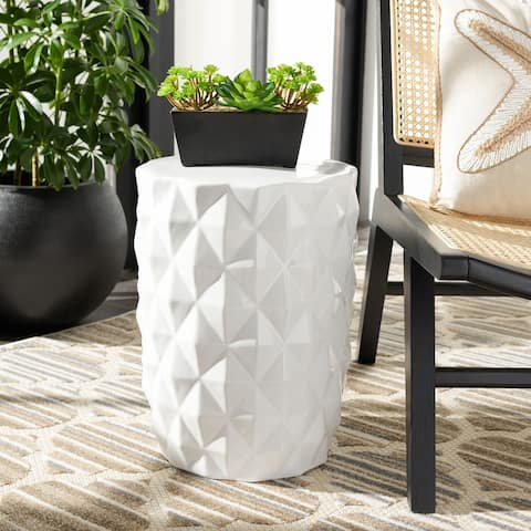 SAFAVIEH Posy Indoor/ Outdoor White Ceramic Decorative Garden Stool