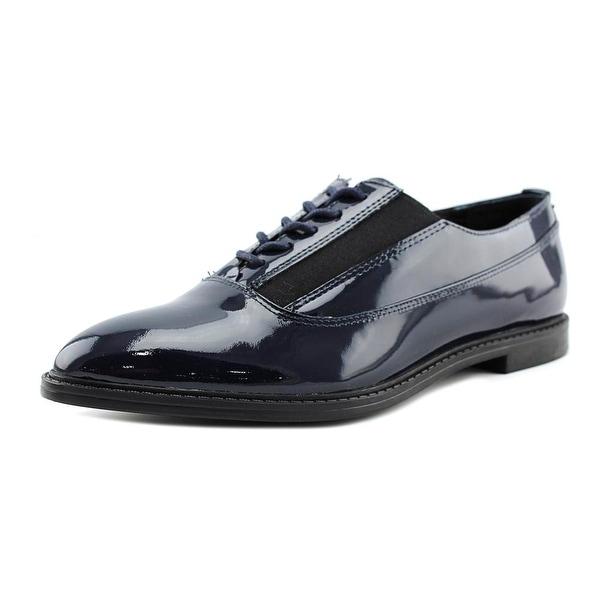 Calvin Klein Della Women Wingtip Toe Patent Leather Blue Oxford