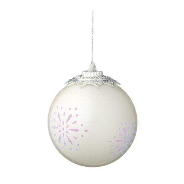 """Off White Battery Operated LED Lighted Snowflake Shatterproof Christmas Ball Ornament 3.5"""" (90mm)"""