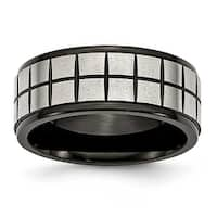 Chisel Stainless Steel Satin & Black Plated 9mm Band
