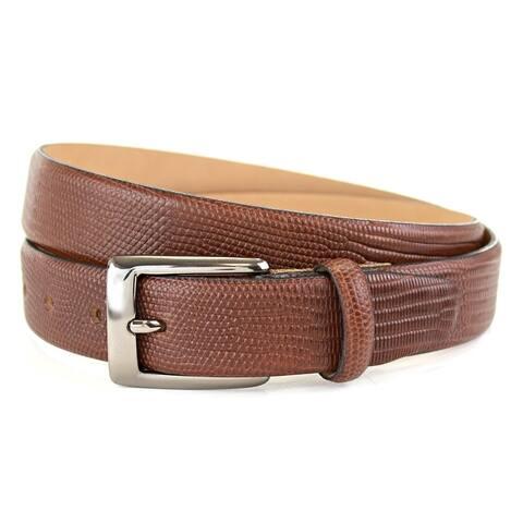 The British Belt Company Burley Italian Leather Belt with Embossed Lizard Print