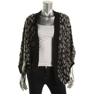 Cejon Womens Metallic Ribbed Trim Cardigan Sweater - o/s