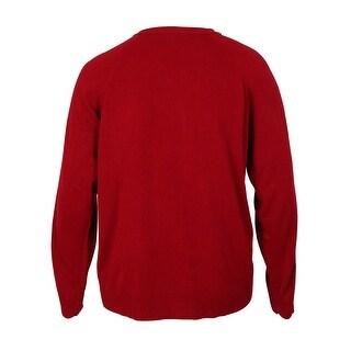 Karen Scott Women's Ribbed-Trim Crewneck Sweater Cardigan