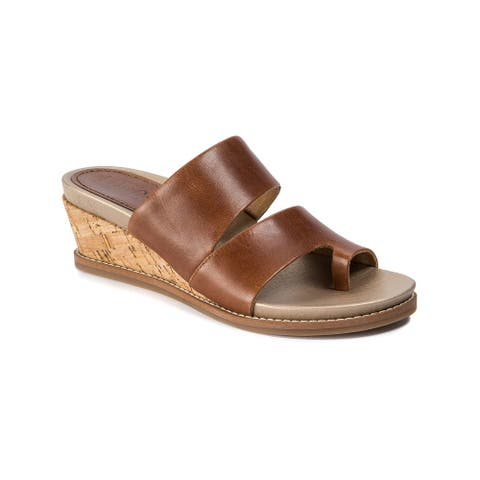 Lucca Lane Womens Whitley Leather Open Toe Casual Slide Sandals