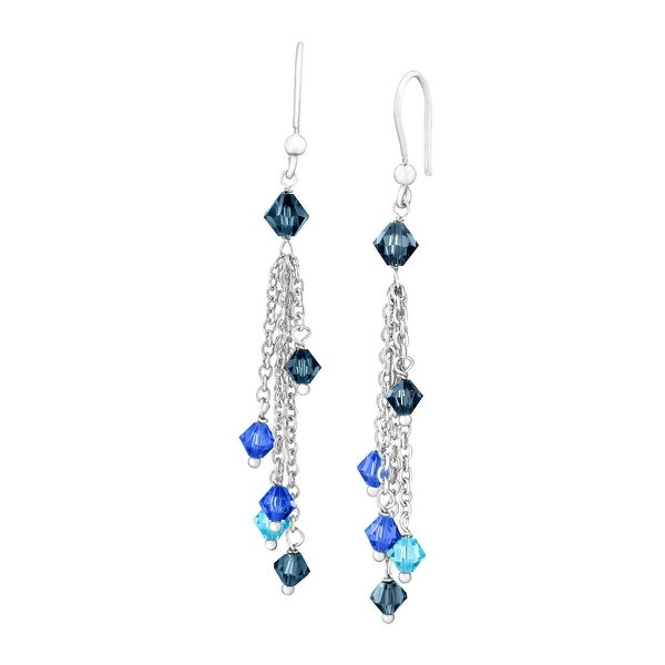 Crystaluxe Cascade Drop Earrings with Blue Swarovski Crystals in Sterling Silver