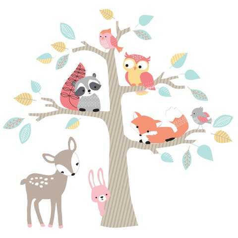 Lambs & Ivy Little Woodland Animals and Tree Jumbo Nursery Wall Decals/Appliques
