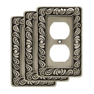 Franklin Brass W10110V-R Paisley Single Duplex Outlet Wall Plate - Pack of 3