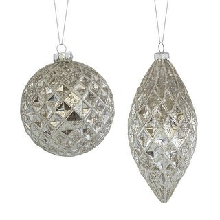 """Club Pack of 12 Grey Distressed Christmas Tree Ornaments with Hanger 8"""""""