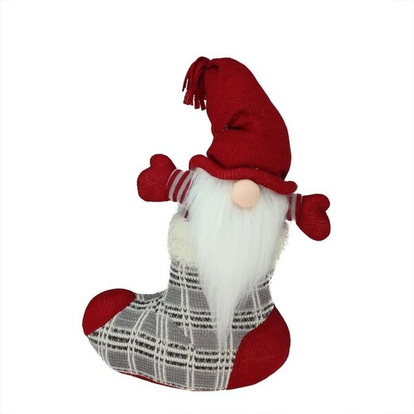 "14.5"" Gray and Red ""Tristan"" Gnome in Christmas Stocking Tabletop Decoration"