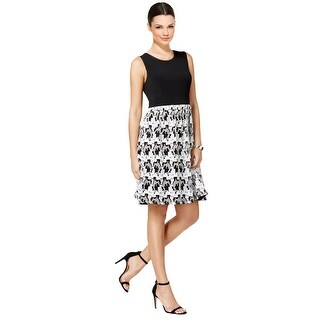 Tommy Hilfiger Printed Fit & Flare Sleeveless Dress Black/Ivory - 12