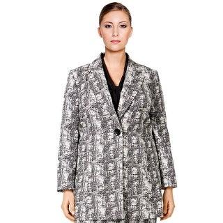 Kasper Plus Size One Button Orient Print Blazer Jacket Ivory/Black - 14W