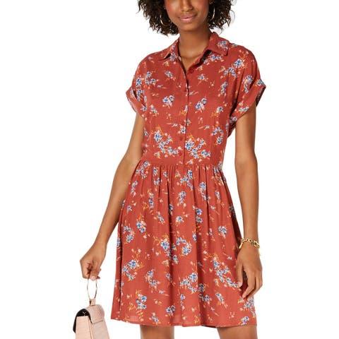 Be Bop Womens Juniors Shirtdress Floral Print Cuff Sleeve - S