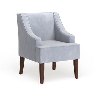 Porch & Den Lyric Dove Grey Velvet Swoop Arm Accent Chair