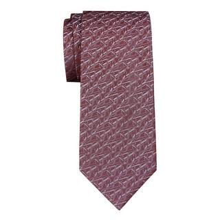 Yves Saint Laurent Logo Jacquard Woven Silk Tie Red /Gray Necktie Made In France
