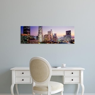 Easy Art Prints Panoramic Images's 'Skyscrapers At Dusk, Los Angeles, California, USA' Premium Canvas Art