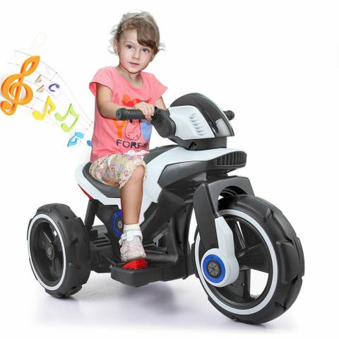 White 6V kids ride on car 3 Wheel Trike Boy Electric Motorcycle