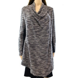 Style & Co. NEW Gray Women's Small S Draped Striped Cardigan Sweater