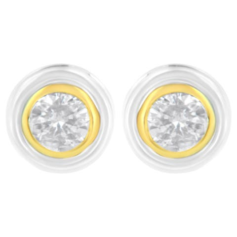 10K White and Yellow Gold 1/5ct TDW Diamond Solitaire Bezel Earring (J-K Color, I1-I2 Clarity)