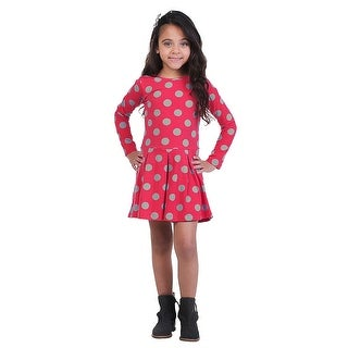 Pulla Bulla Little Girls' Long Sleeve Polka Dot Dress