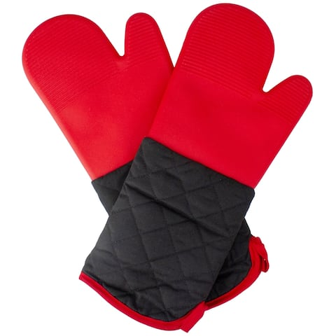 """16.75"""" Red Silicone Grilling Oven Mitts"""
