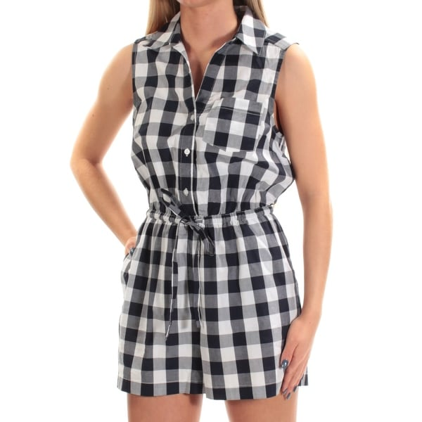 16c9a2b1bcf Shop MAISON JULES Womens Navy Plaid Sleeveless Collared Romper Size  S -  Free Shipping On Orders Over  45 - Overstock.com - 22421423