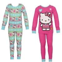 Hello Kitty Little Girls Aqua Kitty Snowflake Print 2 Pajama Sets Pack