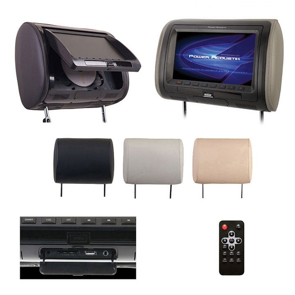 "Power Acoustik 7"" Headrest Monitor 3-Color Skins LCD/DVD USB/SD SOLD EACH"