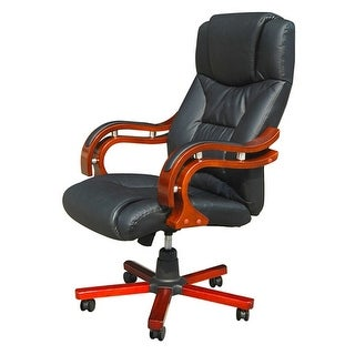 vidaXL Black Real Leather Office Chair