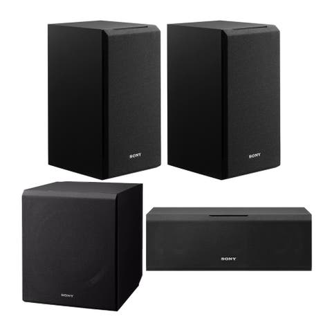 Sony 4-Piece Speaker System with 3-Way Bookshelf and Subwoofer Bundle