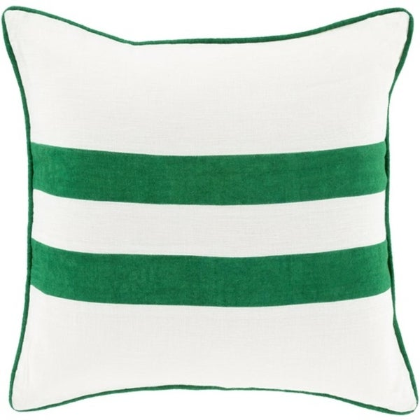 "22"" Emerald Green and Cream White Two Stripes Decorative Throw Pillow-Down Filler"