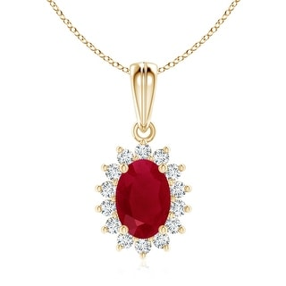 Floral Diamond Halo Oval Ruby Pendant Necklace - White