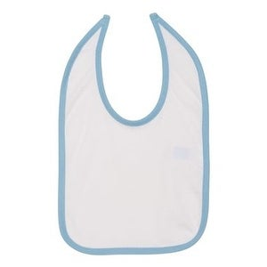 Rabbit Skins Infant Contrast Trim Premium Jersey Bib - White/ Light Blue - One Size