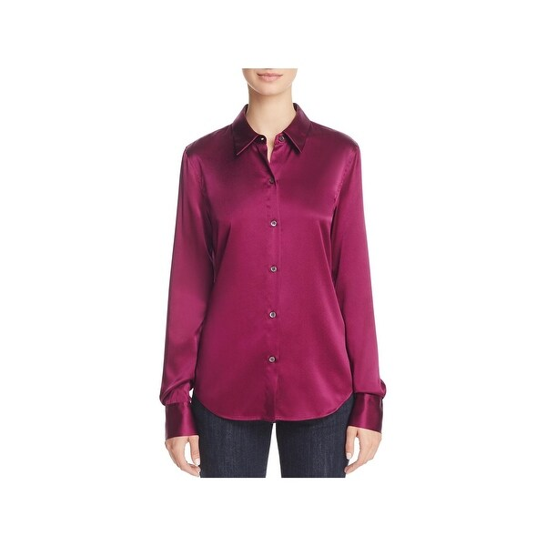 588fffa172f4 Shop Theory Womens Button-Down Top Silk Blend Stretch - On Sale ...
