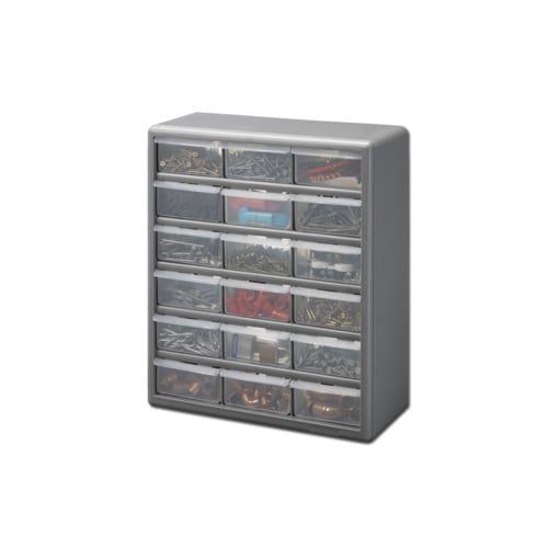 Stack On DS 18 18 Drawer Storage Cabinet, Gray