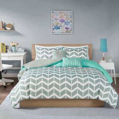 Laila Chevron Print 5-piece Duvet Cover Set by Intelligent Design